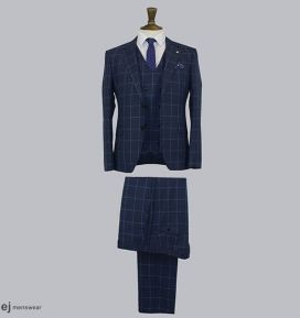 Ed Oliver Navy Blue 3 Piece Suit