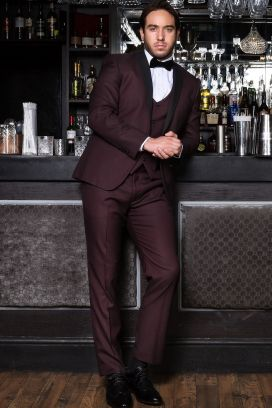 Wine Sam Marc Darcy Dinner 3 Piece Suit