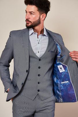 Marc Darcy Danny Blue Grey Three Piece Sit with Single Breasted Waistcoat