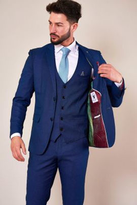 Marc Darcy Royal Blue Three Piece Suit With Single Breasted Waistcoat