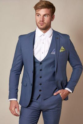Marc Darcy Danny Sky Three Piece Suit With Single Breasted Waistcoat