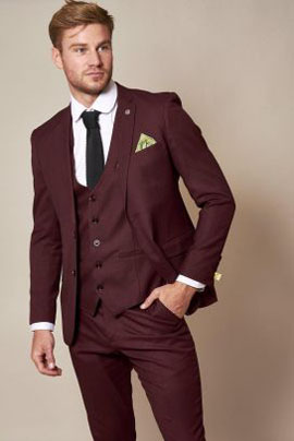 Marc Darcy Danny Wine Three Piece Suit with Single Breasted Waistcoat